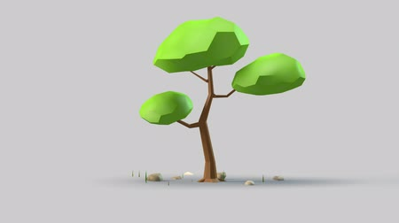 stilize : Tree 3d design with garden motion.Cute plant on gray background.