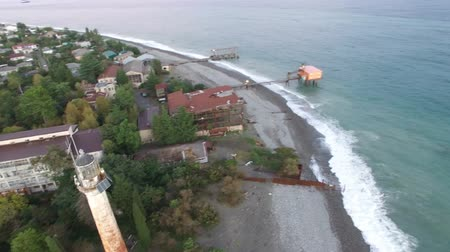 ferrugem : View from the height of the ancient lighthouse near the coastline of Sukhumi in Abkhazia in the evening.