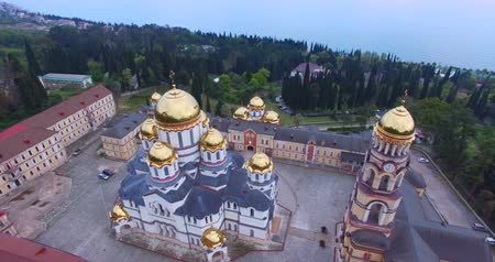 cruzes : Aerial view of the Christian sights in New Athos. Abkhazia. Vídeos