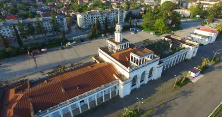 Top view of the old and ruined building of the railway station in Sukhumi.