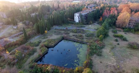 Aerial survey of the territory of the former Soviet sanatorium in Abkhazia.