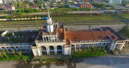 aerial survey of the old railway station in Sukhumi Abkhazia.