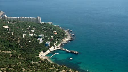 View from the height of the beautiful Bay of Laspi in the Crimea near the Black sea.