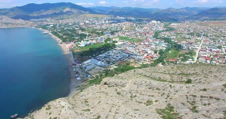 krím : Aerial view of the seaside town of Sudak from the mountain on a summer day.