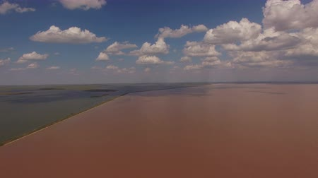 Aerial photography of pink salt lake Sivash. Natural beauty of Crimea.