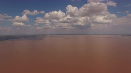 fotografia : Aerial photography of pink salt lake Sivash. Natural beauty of Crimea.