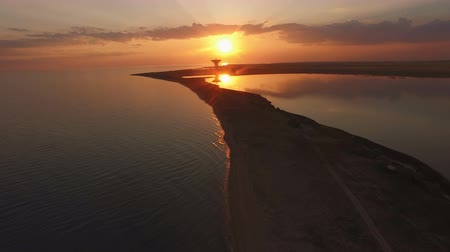 Amazing sunset over the sea and lake in Crimea. Wideo