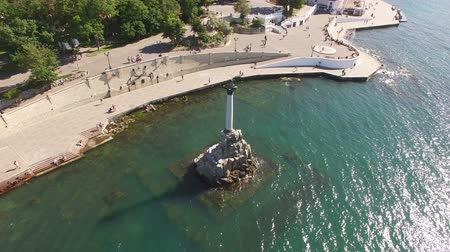 Sevastopol, Crimea-may 30, 2017: aerial survey sights -a monument to the dead ships. Wideo