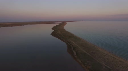 aerial view of the sea landscape with the sea and the lake in the evening at sunset.