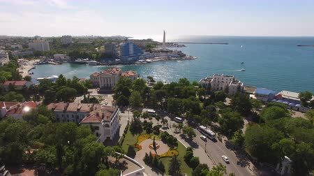 zajímavosti : Sevastopol, Crimea-may 30, 2017: Aerial view of the city landscape of Sevastopol with views of the sights Dostupné videozáznamy
