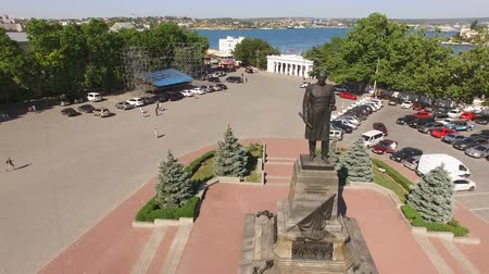 Sevastopol, Crimea-may 30, 2017: Aerial view of the city landscape of Sevastopol with views of the sights Wideo