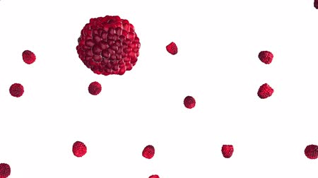 görsel : Falling raspberries on white background.