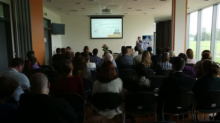 prezentaci : Ceske Budejovice, Czech Republic, OCTOBER 24, 2016: Man scientist Presented at a conference on biotechnology, science slideshow, lecture projection screen, students, teaching, Czech Republic, Europe
