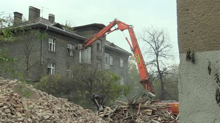 konzervált : PREROV, CZECH REPUBLIC, NOVEMBER 1, 2017: The house for the staff of the train station then the former Gypsy ghetto of Skodova Street in Prerov Demolition of a preserved historical building