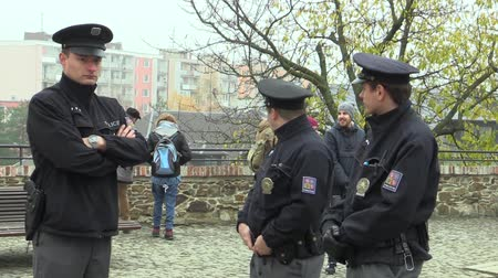 democrat : MOHELNICE, CZECH REPUBLIC, NOVEMBER 9, 2017: President of the Czech Republic Milos Zeman visiting Mohelnice in the Olomouc Region, police protect Stock Footage