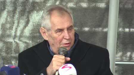 democrat : MOHELNICE, CZECH REPUBLIC, NOVEMBER 9, 2017: President of the Czech Republic Milos Zeman visiting Mohelnice, president talks about early elections and politics
