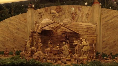 szamár : OLOMOUC, CZECH REPUBLIC, DECEMBER 17, 2017: Bethlehem hand carved from wood, beautiful nativity creche statues of Joseph, Mary, Jesus Christ a little baby