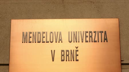 faculty : BRNO, CZECH REPUBLIC, JANUARY 18, 2016: Sign banner of the Mendel University in Brno, named after the founder of genetics Gregor Johann Mendel , a world-renowned scientist,