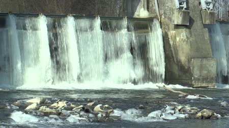 hydro : Weir On Morava River, Hydro-electric Power Station, in winter frozen water with ice and icicles snow, Europe
