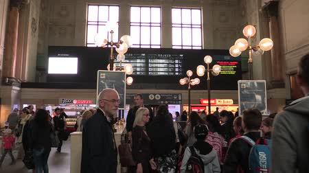 čeština : BRNO CZECH REPUBLIC, MAY 2, 2018: The main train station interior hall vestibule in the city of Brno, a historical building check-in hall, people go to the train, show signs of arrivals and departures