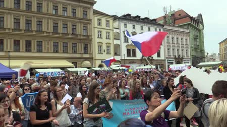 czechoslovak : OLOMOUC CZECH REPUBLIC, MAY 9, 2018: Student parade procession of May, drums play, people rejoice flags and scream with joy to vote king and celebrate the 100th Anniversary of Czechoslovak Republic