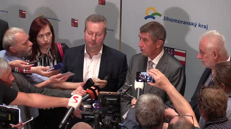 richard : BRNO CZECH REPUBLIC, MAY 2, 2018: Prime Minister Andrej Babis and Richard Brabec arrived for the citizens of Brno, press conference for the public and citizens Brno, governor Simek, journalists media