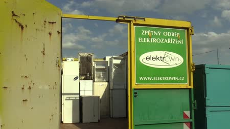 hazardous : OLOMOUC, CZECH REPUBLIC, APRIL 25, 2018: Collection and sorting of electrical waste and scrap of refrigerators, freezers and electronics. Danger for nature and environment, requires recycling dump.
