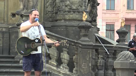 namesti : OLOMOUC, CZECH REPUBLIC, MAY 15 , 2018: Activist and musician Ziggy Horvath on a demonstration against the Prime Minister of the Czech Republic Andrej Babis in Prague and President Milos Zeman
