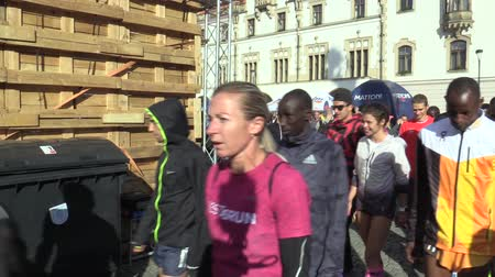 čeština : OLOMOUC, CZECH REPUBLIC, JUNE 23 , 2018: Public presentation of elite runners before start of half marathon race in Olomouc celebrity Kenya and Ethiopia Stephen Kiprop, Jemal Yimer, Netsanet Gudeta