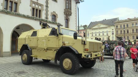 mines : OLOMOUC, CZECH REPUBLIC, JUNE 29 , 2018: The Dingo 2 ATF CZ 4x4 vehicle is characterized by its high resistance to mines and projectiles of small arms, day of the army of the Czech Republic, people