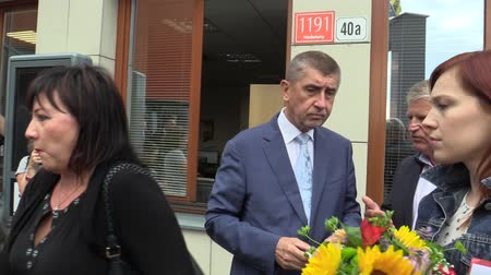 comes : OLOMOUC, CZECH REPUBLIC, MAY 15 , 2018: Czech Prime Minister Andrej Babis comes to political negotiations in the Olomouc Region, authentic and real, journalists and photographers