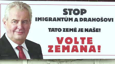přímý : OLOMOUC, CZECH REPUBLIC, JANUARY 18, 2018: Billboard in support of the candidacy of Milos Zeman in direct election to the President of the Czech Republic in 2018, inscription: Stop Immigrants