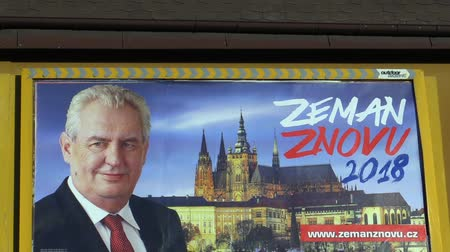 direto : OLOMOUC, CZECH REPUBLIC, DECEMBER 12, 2017: Billboard in support of the candidacy of President Milos Zeman in direct election to the President of the Czech Republic in 2018