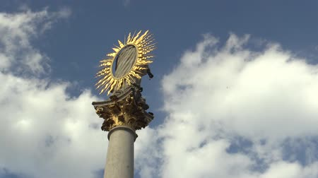 marian : The Marian Pillar Column at Svoboda Square in Brno was built between 1679 and 1683 in memory of the plague epidemic that the city suffered and plagued. A golden glow and a pompous ornament and clouds