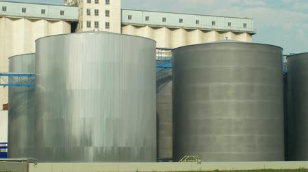 commercial cultivation : OLOMOUC, CZECH REPUBLIC, OCTOBER 24, 2018: Factory storage towers for oilseed rape. For the production of vegetable seed oils, biofuels and biodiesel. Commercial agriculture, Europe