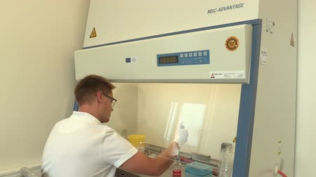 vantagem : CESKE BUDEJOVICE, CZECH REPUBLIC, SEPTEMBER 2, 2018: Laboratory pipetting of specimens into tube sampler, class biological safety cabinets ductless filtering fume hoods, scientific research bacteria