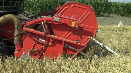 horizontal bar : OLOMOUC, CZECH REPUBLIC, SEPTEMBER 1, 2018: Harvester combine detail thresher reel cutter bars fieldHege 160 modern during harvesting of barley Hordeum vulgare cereals grain