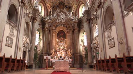 gofret : OLOMOUC, CZECH REPUBLIC, APRIL 15, 2018: Olomouc on the Svaty Kopecek church, altar and religion, Catholic christian mass, ornamentation decoration of the Baroque architecture