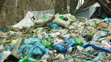 megőriz : OLOMOUC, CZECH REPUBLIC, JANUARY 2, 2019: Rubbish forest shopping cart black dump waste and landscape garbage bags of trash refuse litter, sheets homeless wood plastic foil chalet lair 4k