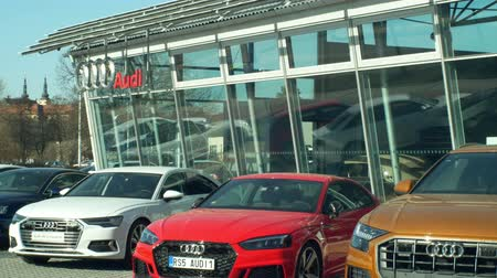 ショールーム : OLOMOUC, CZECH REPUBLIC, JANUARY 30, 2019: Audi car showroom brand glassed sales shop and store, luxury logo cars for wealthy people, highly thoughtful ergonomics and design, a traditional German 動画素材