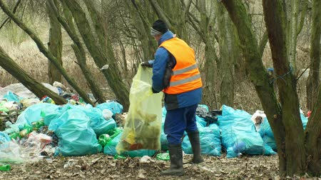 recusar : OLOMOUC, CZECH REPUBLIC, JANUARY 2, 2019: Man collect garbage rubbish gathers bag, forest landscape in endangered nature, black dump of human dirt of plastic bottles trash Stock Footage