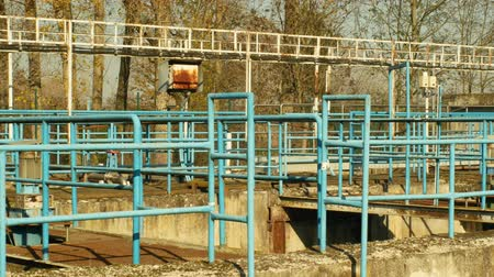 ścieki : Waste water and wastewater treatment plant old and rusty railing iron processes sedimentation, filtration, oxidation, Biochemical and chemical, important for the healthy environment and nature Wideo