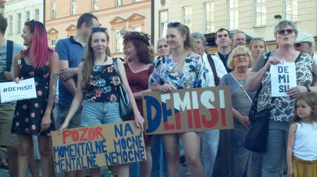 incapacidade : PRAGUE, CZECH REPUBLIC, JUNE 11, 2019: Demonstration of people crowd against Prime Minister Andrej Babis, banner with demission and resignation and second for the currently ill and mentally ill,