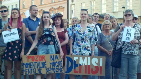 know : PRAGUE, CZECH REPUBLIC, JUNE 11, 2019: Demonstration of people crowd against Prime Minister Andrej Babis, banner with demission and resignation and second for the currently ill and mentally ill,