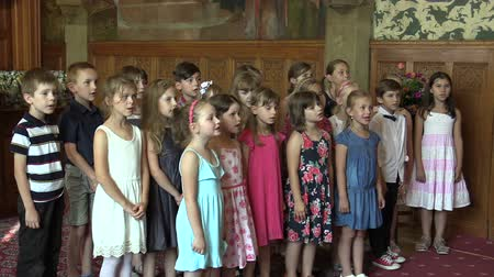 choral : OLOMOUC, CZECH REPUBLIC, APRIL 15, 2018: Choir choral children singing of the sings Czech old folk song Okolo Hradce, emotional human speech and emotion, Knights Hall in the town city hall Stock Footage