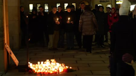 namesti : OLOMOUC, CZECH REPUBLIC, JANUARY 16, 2019: Jan Palach student demonstration burning with fire 50 years anniversary, memorial, candles and burning people are sad, 1968 occupation of Czechoslovakia