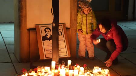 oppression : OLOMOUC, CZECH REPUBLIC, JANUARY 16, 2019: Jan Palach student demonstration burning with fire 50 years anniversary, memorial, candles and burning people are sad, 1968 occupation of Czechoslovakia