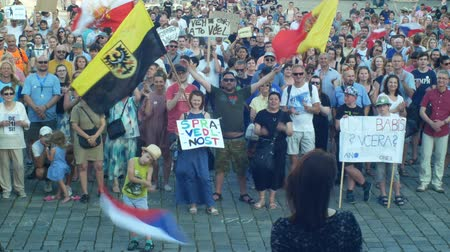 know : PRAGUE, CZECH REPUBLIC, JUNE 11, 2019: Demonstration of people crowd against the Prime Minister Andrej Babis, a banner with a draw with Babis lied yesterday today