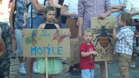 incapacidade : PRAGUE, CZECH REPUBLIC, JUNE 11, 2019: Demonstration of people crowd against the Prime Minister Andrej Babis, a banner I want a butterfly and let the bee live, friendly agriculture to nature
