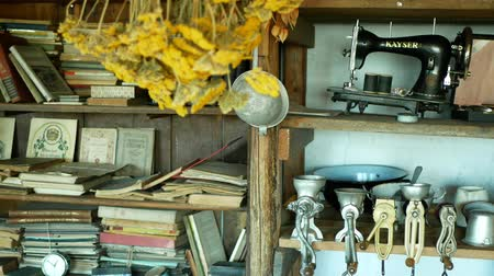 louça : OLOMOUC, CZECH REPUBLIC, SEPTEMBER 5, 2019: Traditional Moravia cottage old folk Hana with meat and cereal or poppy seed grinders, Kayser sewing machine, Interior of peasant and dishes glassful